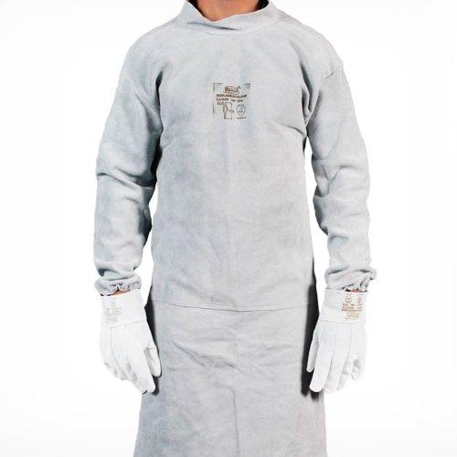 avental de raspa com mangas tipo barbeiro soldador 120 x 60cm