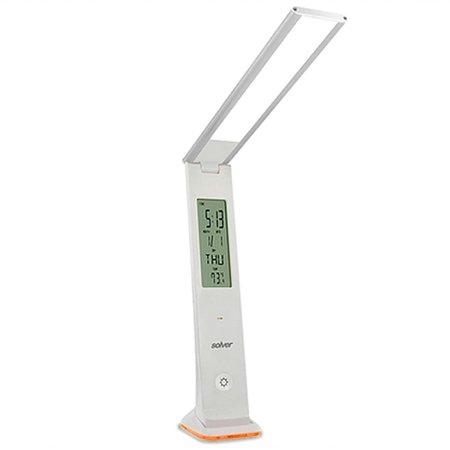 luminária led touch de mesa prata 3w à bateria com relógio slm-101