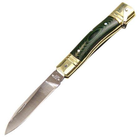 canivete de aço inox com cabo de latão e cimowood