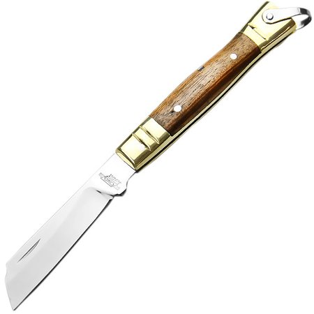 canivete de aço inox com cabo latão e madeira