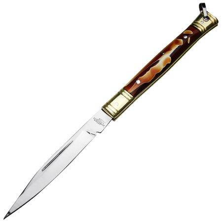 canivete de aço inox com cabo de latão e acrílico com bainha