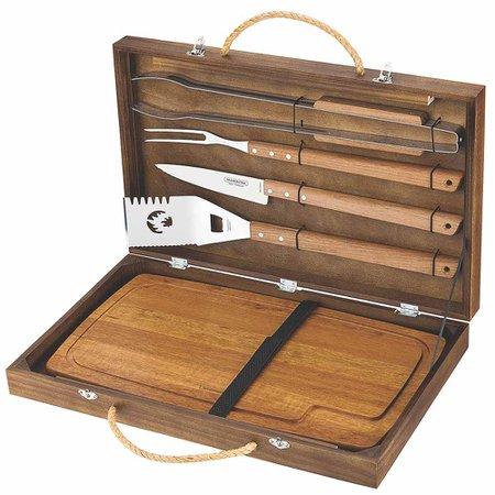 kit para churrasco em inox com 6 peças