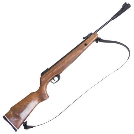 carabina de pressão montenegro special calibre 5,5mm coronha em madeira e bandoleira