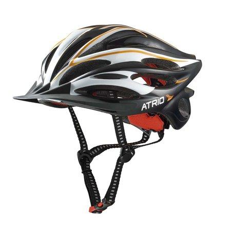capacete para ciclismo inmold com led preto com laranja tamanho m