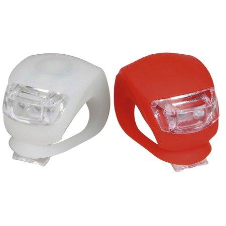kit farol dianteiro e traseiro branco/vermelho em silicone para bicicleta
