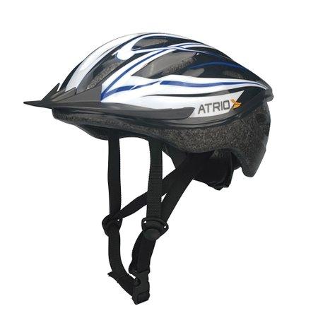 capacete mtb para bike preto/branco/azul - g