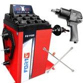 Kit Balanceadora de Rodas Automática FortG Pro FG1100 220V + Chave Parafusadeira de Impacto FortG Pro FG3300 1/2 Pol. + Chave de Roda Cruz FortG Pro FG8520 20 Pol. - FORTGPRO-K05
