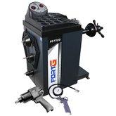 Kit Balanceadora de Rodas Automática FORTGPRO-FG1120 Mono 220V + Chave Parafusadeira de Impacto Pneumática 1/2 Pol. + Calibrador Manual com Inflador