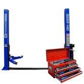 Kit Elevador Hidráulico Maquinas Ribeiro ERH4000D-AZ Azul 4T + Baú de Ferramentas Kingtony ST901-074MR02 74 Peças