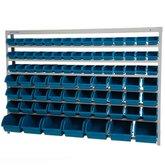 Estante Porta-Componentes com 82 Caixas Azuis