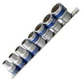 Jogo de Soquetes Estriado com Encaixe de 1/2 pol. com 8 Peças de 10 a 22 mm