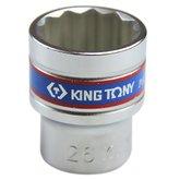 Soquete Estriado de 26 mm com Encaixe de 1/2 Pol. - KINGTONY-433026MR