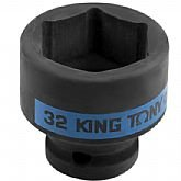 Soquete de Impacto Sextavado Curto de 1/2 Pol. 32 mm  - KINGTONY-453532M