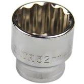 Soquete Estriado Cromado de 1/2 Pol 32 mm  - SATA-ST13618SC