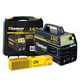 Kit Máquina de Solda Inversora MMA 160A Bivolt Display Digital e Maleta Titanium 5225 + Eletrodo E6013 2,5mm 1Kg