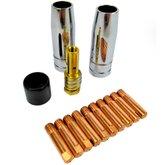 Kit Consumíveis MIG/MAG com Bico 0,8mm Rosca M6 Simples 14 Peças