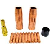 Kit Consumíveis MIG/MAG com Bico 0,8mm Rosca M6 Reforçada 14 Peças