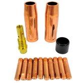 Kit Consumíveis MIG/MAG com Bico 0,6mm Rosca M6 Reforçada 14 Peças