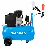 Motocompressor de Ar 2 Saídas de Ar e Protetor Térmico 7,2 Pés 2HP 24L com Kit de Pintura