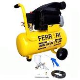 Motocompressor de Ar 7,6 Pés 24 Litros Bivolt com Kit de Pintura - FERRARI-AAC1010023