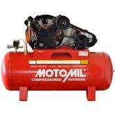 Compressor de Ar Profissional Vermelho 20 Pés 200L 5HP 220/380V Trifásico - MOTOMIL-CMAV20/200