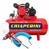 Kit Compressor de Ar Bivolt 10 Pés Chiaperini 10/110RED + Pistola de Pintura HVLP + Mangueira Espiral 15m