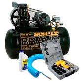 Kit Compressor Profissional SCHULZ-MONOCSL10BR + Chave de Impacto + Mangueira + Óleo