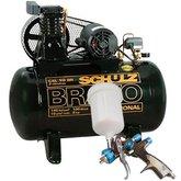 Kit Compressor Profissional Industrial Schulz MONOCSL10BR + Pistola para Pintura de LVLP Steula BC8014