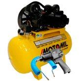 Kit Compressor 10 Pés Monofásico Bivolt Motomil CMV10PL/100 + Chave Parafusadeira Pneumática de 1/2 Pol. + Mangueira 15 Metros