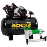 Kit Compressor de Ar SCHULZ PROCSV10/100 10 Pés 100L 2HP 140PSI Mono + Grampeador Pneumático ULTRA 1111102 com Capacidade 150 Grampos