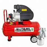 Kit Motocompressor de Ar MOTOMIL 37896.2 8,7 pés³/min 2,0HP 50L 220V  + Pistola para Pintura de Ar Direto LEETOOLS 601030 1,3 mm