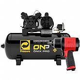 Kit Compressor de Ar Ônix Pro PRESSURE-ONP-10/100-VM 10 Pés 2HP Mono 100 Litros 110/220V + Chave Parafusadeira de Impacto Duplo Martelete FG3310 1/2 Pol.