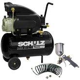 Kit Motocompressor SCHULZ-CSI-8525-AIR Pratic Air 8,5 Pés 25L 110V + Kit de Pintura Compact com 3 Peças