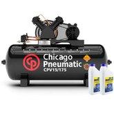 Kit Compressor de Pistão 15 Pés 175 Litros 110/220V Monofásico CHICAGO-8969010001 + 2 Óleos Lubrificante 1 Litro
