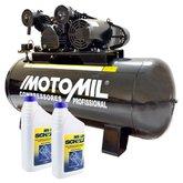 Kit Compressor MOTOMIL-CMV-25/200 25 Pés 200L 140Lbs 220/380V Trifásico + 2 Óleos Lubrificante 1 Litro