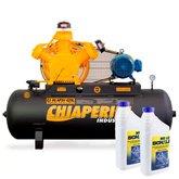 Kit Compressor 40 pcm/AP3V 425 Litros Trifásico Chiaperini-4CJ40AP3V425L + 2 Óleos Lubrificante 1 Litro