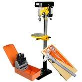 Kit Furadeira de Coluna 16mm Bivolt FortGPro FG011 + Jogo de Brocas HSS 25 peças + Paquímetro Universal Aço 150mm