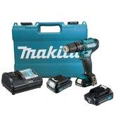 Kit Furadeira/ Parafusadeira de Impacto 12V Makita HP333DWYE + Bateria 12V Íons Lítio Max 2.0 Ah Makita BL1021B