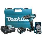 Kit Parafusadeira 12V Makita HP333DWYE com 2 Baterias Lítio 1.5Ah + Jogo de Bits Mini X-Line Bosch 2607017400-000 25 Peças