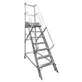 Escada Plataforma Trepadeira 1,75m 6 Degraus com 2 Rodas Traseiras