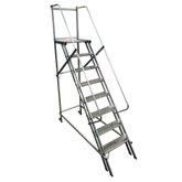 Escada Plataforma Trepadeira 2,00m 7 Degraus com 2 Rodas Traseiras