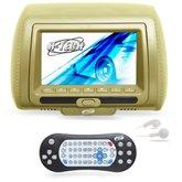 Encosto de Cabeça com Monitor LED e Leitor DVD/USB/MP3/MP4 7 Pol. Bege  - H-TECH-HT-EDV04