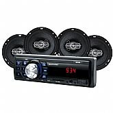 Som Automotivo MP3 One Quadriaxial Entrada USB com Rádio FM com 4 Alto Falantes