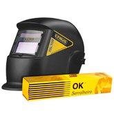 Kit Máscara de Solda Auto Escurecimento Fixa LYNUS MSL-350F Tonalidade 11 + Eletrodo Ok Serralheiro ESAB 301675 E6013 3,25mm 5Kg