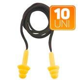 Kit com 10 Protetores Auditivos em Copolímero Tipo Plug com Cordão