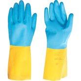 Luva de látex/neoprene, média, amarela e azul, LNV 200