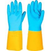 Luva de látex/neoprene pequena amarela e azul LNV 100