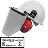 Capacete Evolution Branco com Protetor Facial e Abafador CG 108