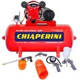 Kit Compressor de Ar CHIAPERINI 19751 Média Pressão Red 10 Pés Trifásico + Kit de Pintura  FORTGPRO FG8670 5 Peças