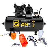 Kit Compressor de Ar PRESSURE-8975701014 10 Pés Bivolt Mono + Kit de Pintura FORTGPRO-FG8670